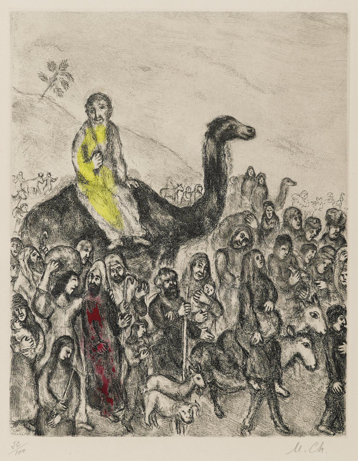 Marc Chagall-Départ de Jacob pour l'Égypte, pl. 22, from La Bible (V. 221; C. bk. 30)-1939