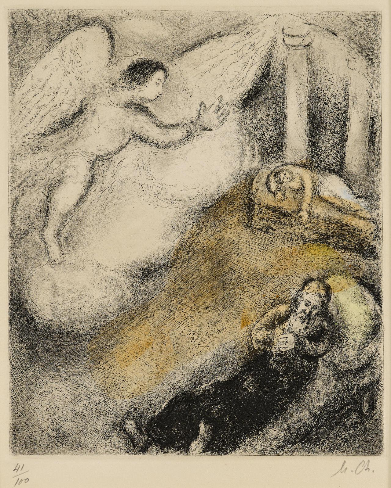 Marc Chagall-Samuel appelé par Dieu, pl. 59, from La Bible (V. 257; C. bk. 30)-1939