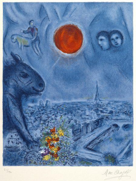Marc Chagall-After Marc Chagall - Paris Sun (M. CS. 48)-1977