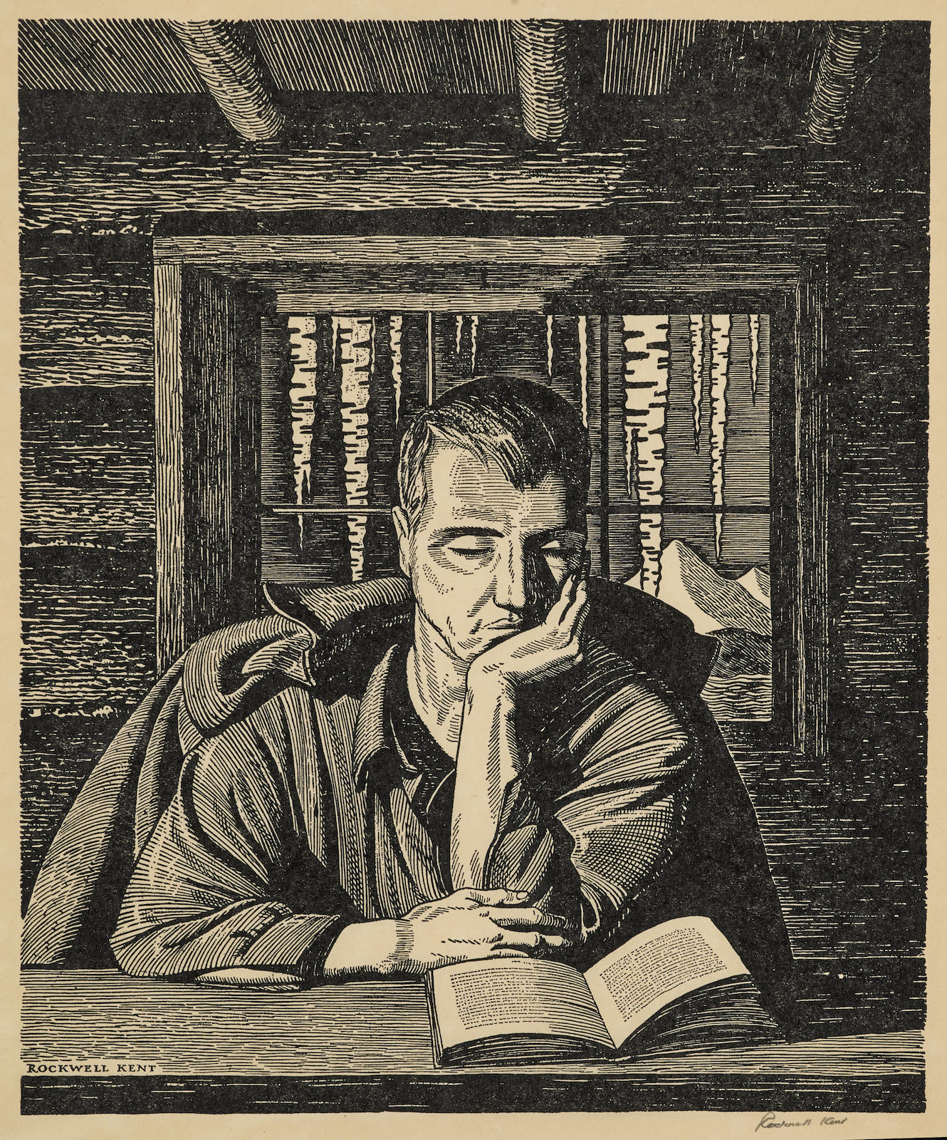 Rockwell Kent-After Rockwell Kent - Man Reading in a Cabin, 1920-1920