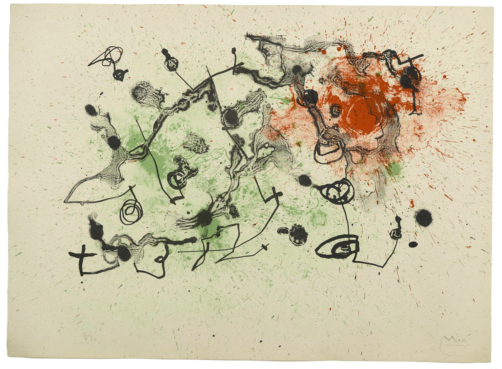 Joan Miro-Rouge et Vert, from Series II (M. 288)-1961