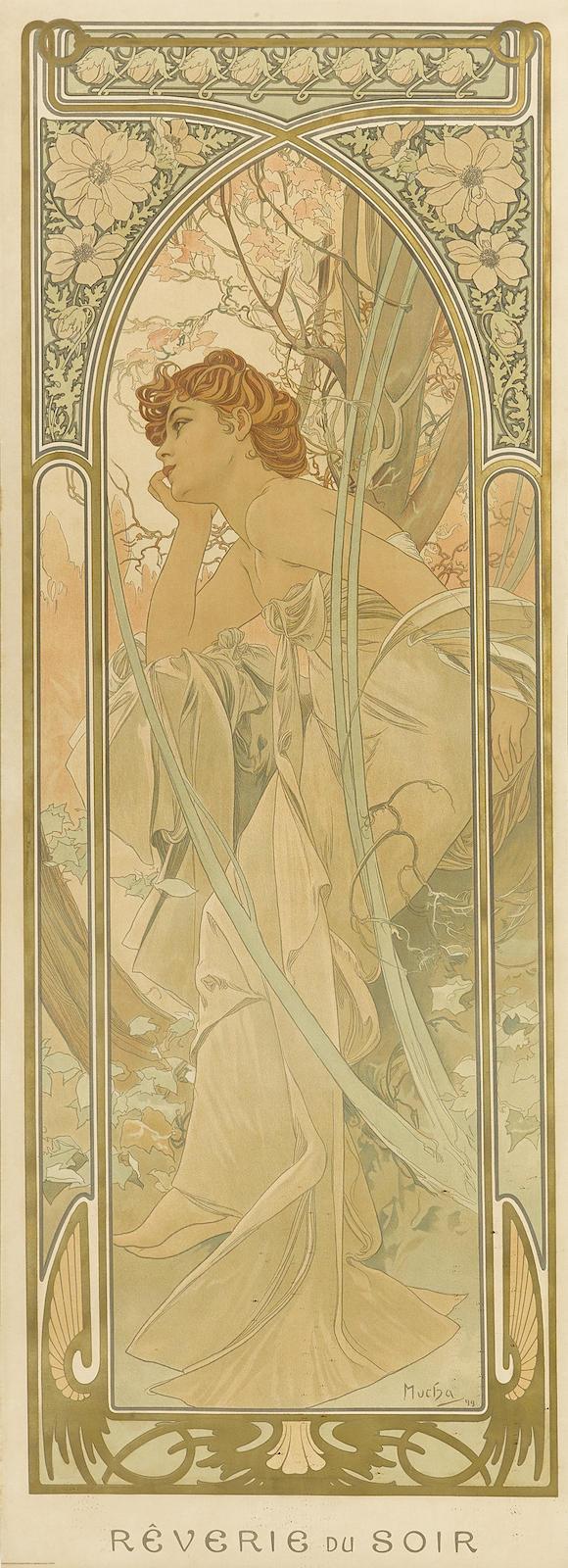 Alphonse Mucha-Reverie du soir, from Heures du jour (R./W. 62.3)-1899