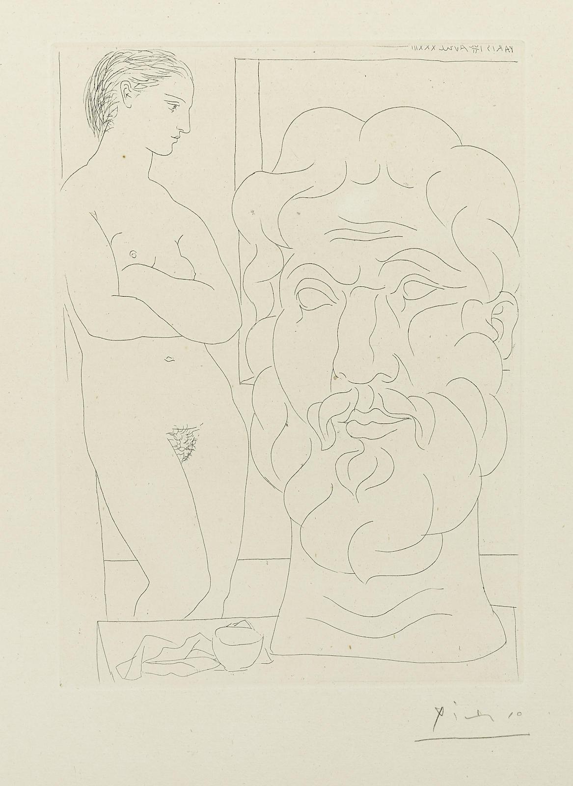 Pablo Picasso-Modèle et Grande Tête sculptée, pl. 61, from La Suite Vollard (B. 170; Ba. 323)-1933