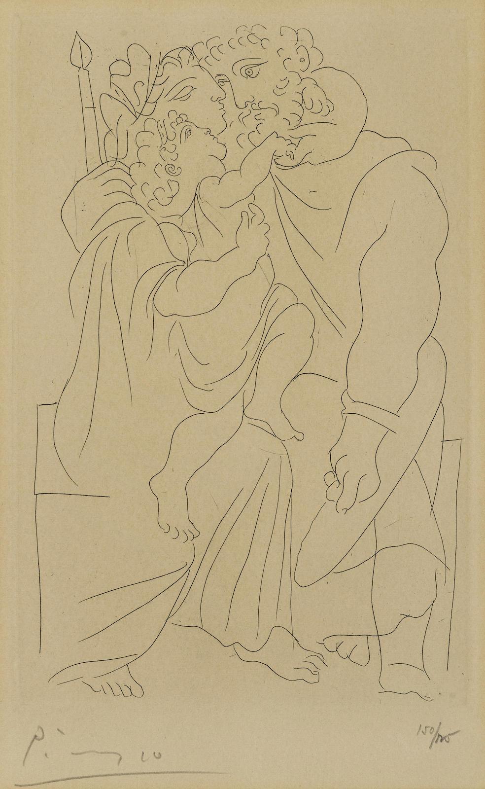 Pablo Picasso-Couple et Enfant, pl. 1, from Lysistrata (B. 268; Ba. 388; C. bk. 24)-1934