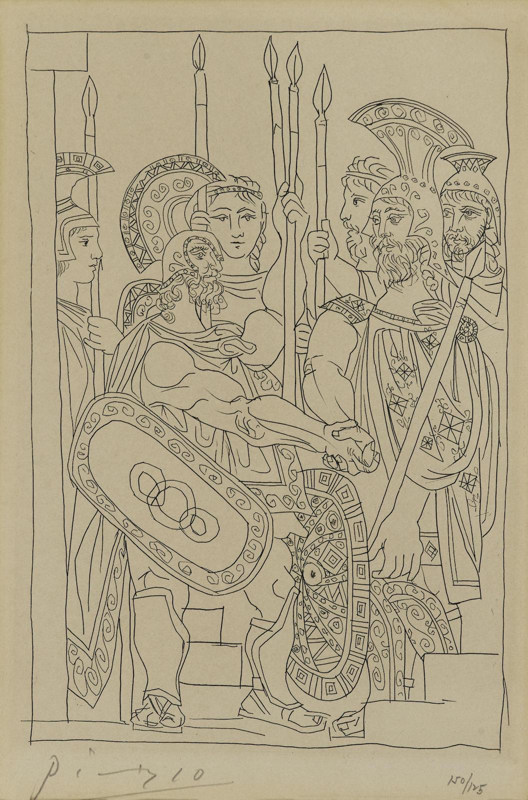 Pablo Picasso-Accord entre les Guerriers de Sparte et d'Athènes, pl. 5, from Lysistrata (B. 271; Ba. 391; C. bk. 24)-1934