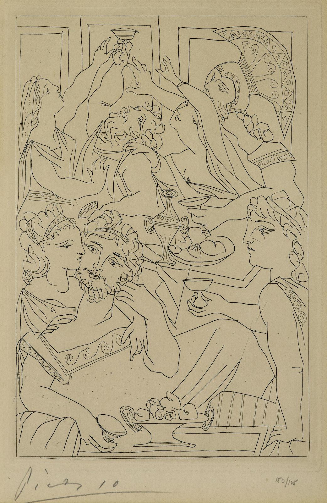Pablo Picasso-Le Festin, pl. 6, from Lysistrata (B. 272; Ba. 392; C. bk. 24)-1934