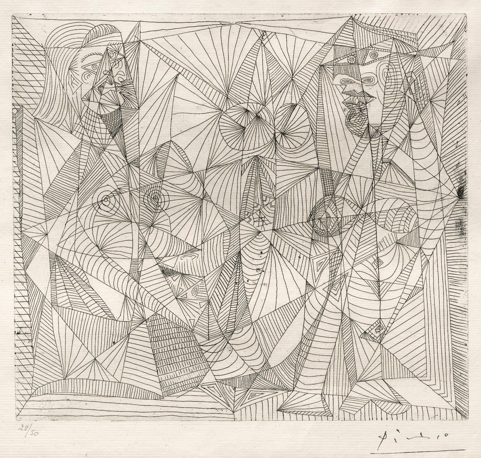 Pablo Picasso-Deux Figures (B. 309; Ba. 645)-1938