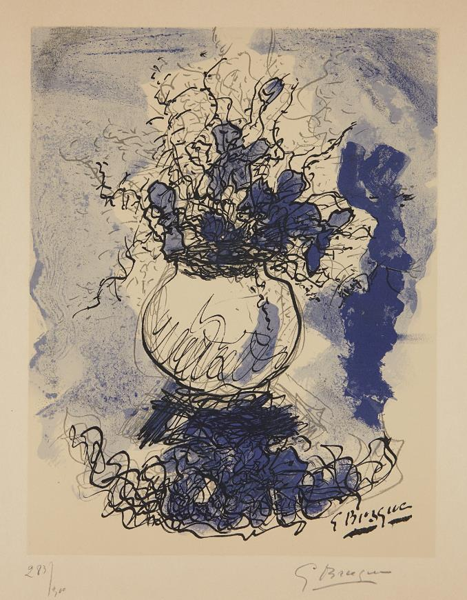 Georges Braque-Bouquet. Fleurs a l'aquarelle-1957