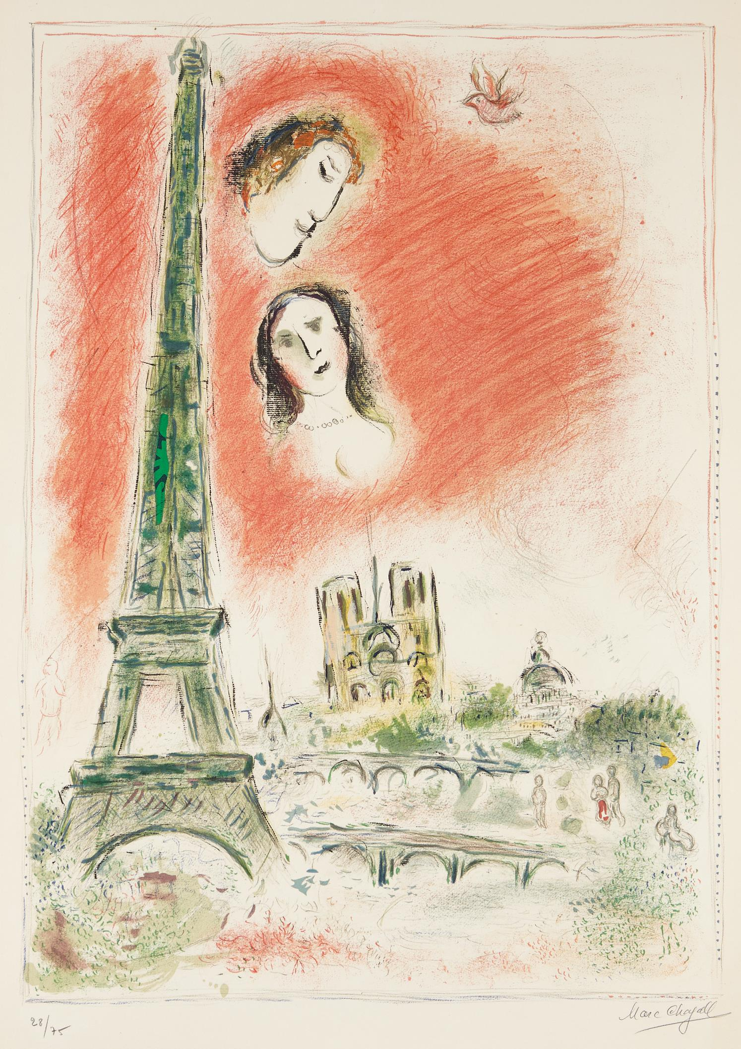 Marc Chagall-Le reve de Paris (The Dream of Paris)-1970