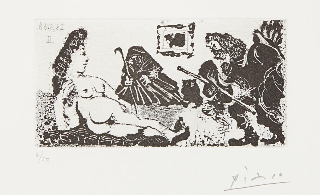 Pablo Picasso-Vieux beau saluant tres bas une pupille de la Celestine (Old Man Bowing to Celestine's Pupil), plate 113 from La serie 347-1968