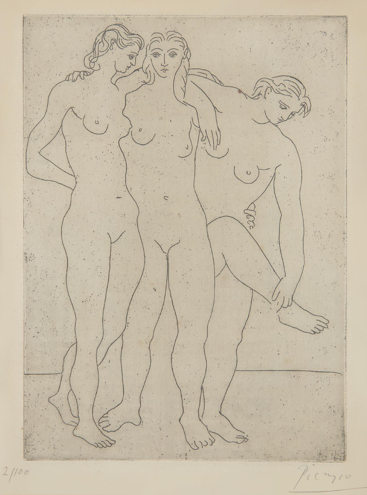 Pablo Picasso-Les trois baigneuses III (Three Bathers III)-1923