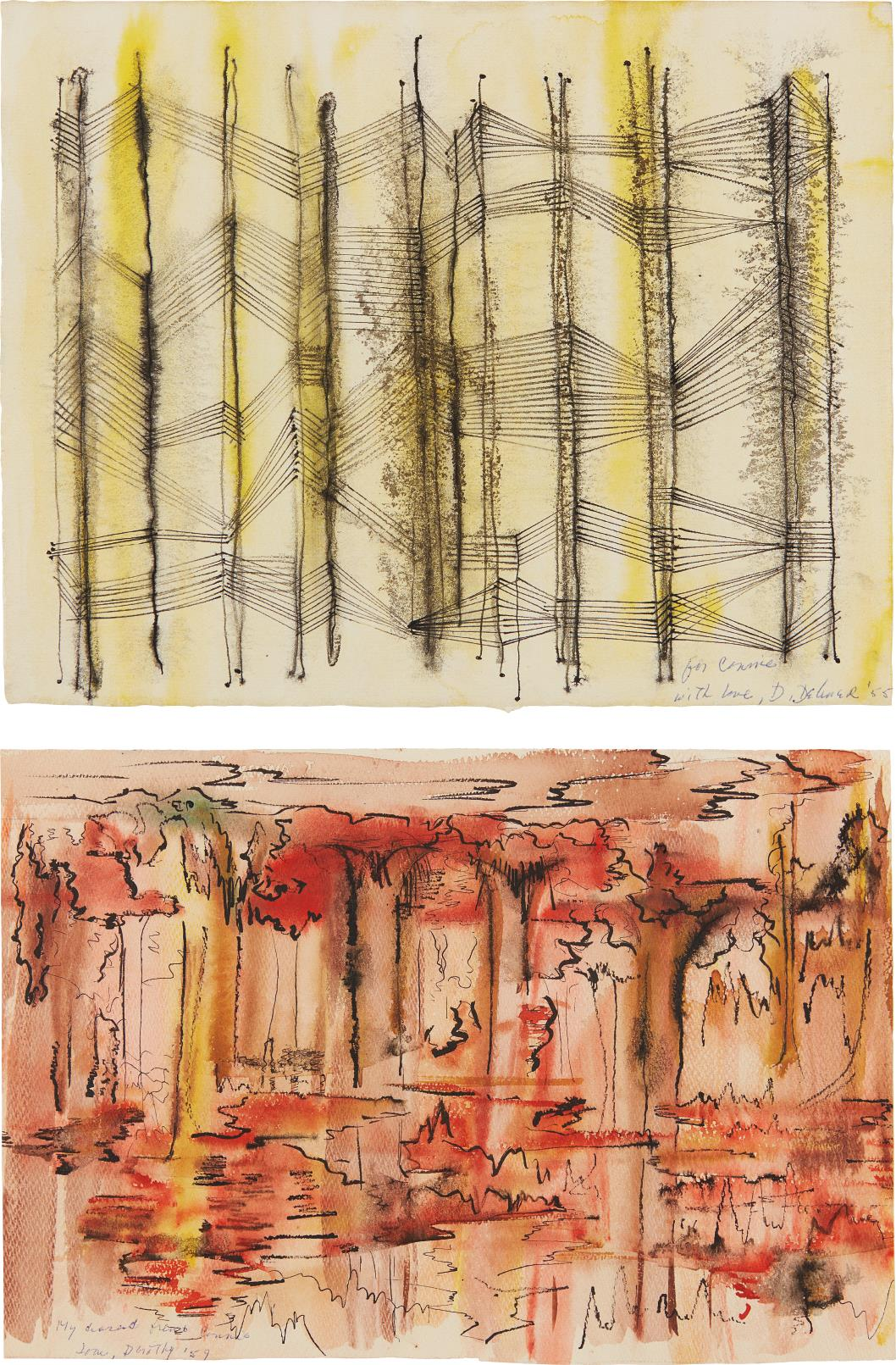 Dorothy Dehner-Untitled (Black/Yellow); and Untitled (Red/Black)-1959