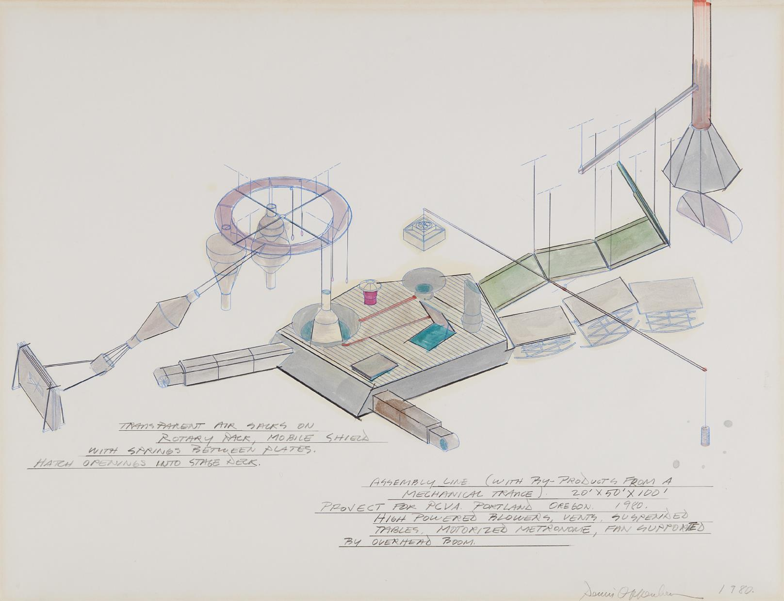 Dennis Oppenheim-Assembly Line (With By-Products from a Mechanical Trance), Project for PCVA. Portland Oregon.-1980