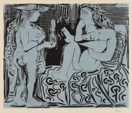 Pablo Picasso-Deux femmes avec un vase a fleurs (Two Women with a Vase of Flowers)-1959