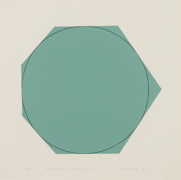 Robert Mangold-Distorted Circle Within a Polygon (Green)-1973