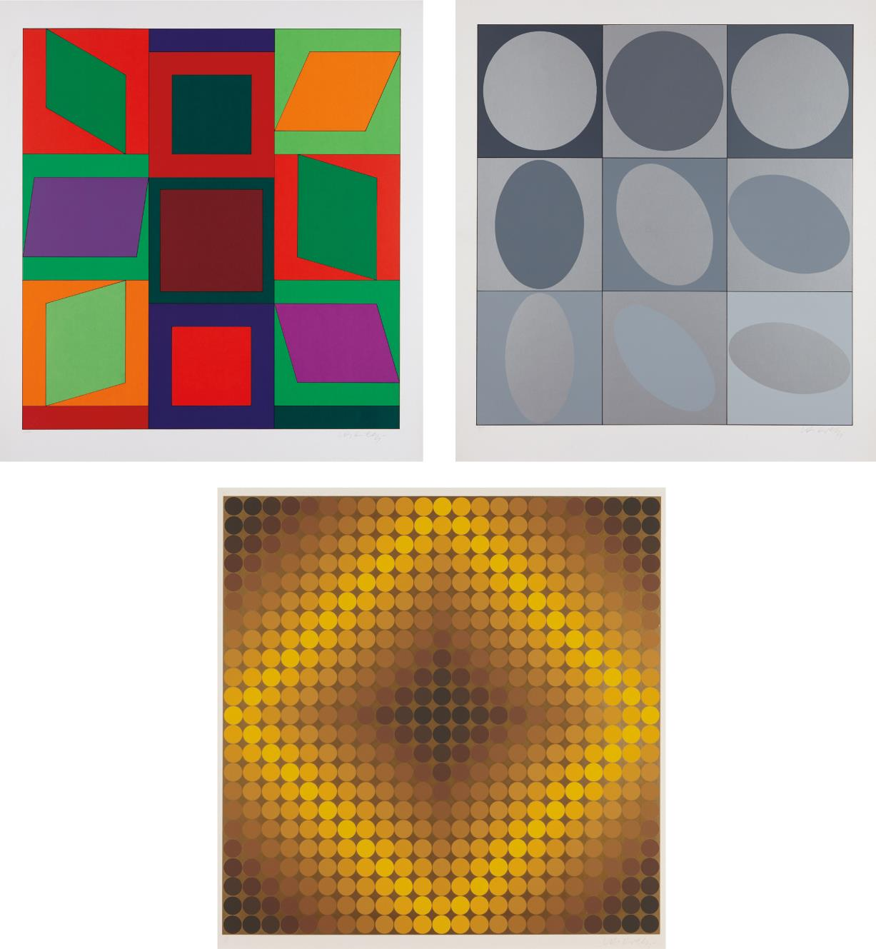 Victor Vasarely-Lapidaire: Two Prints; and Diaf: One Print-1968