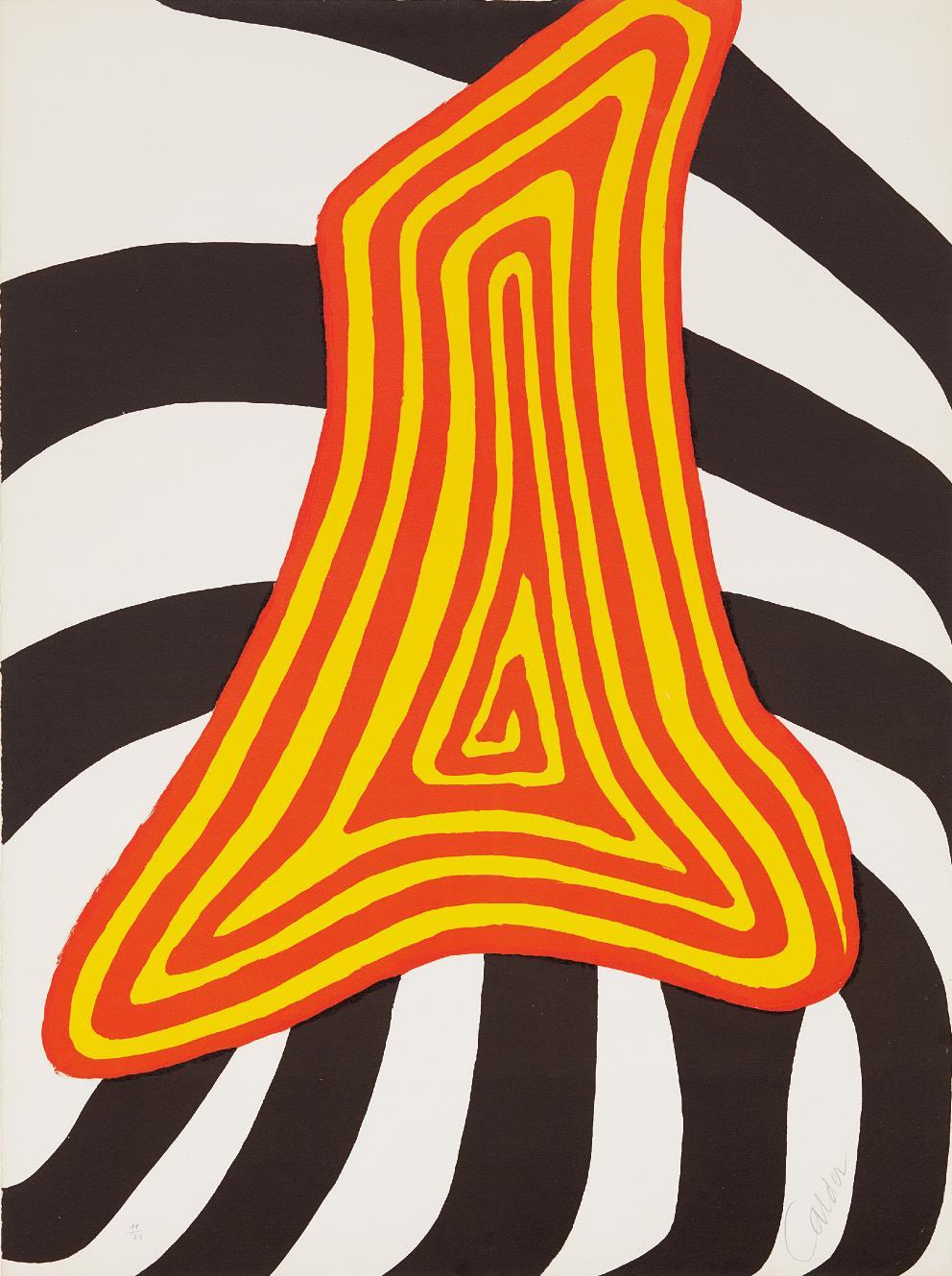 Alexander Calder-Zebra juane et zebra noir-1976