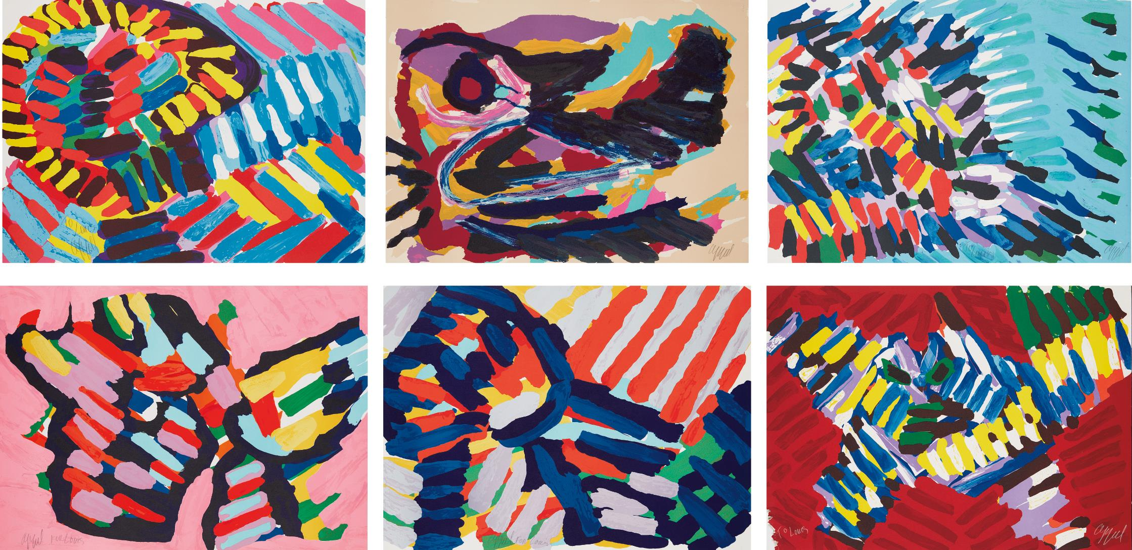 Karel Appel-Six Abstract Prints-1978