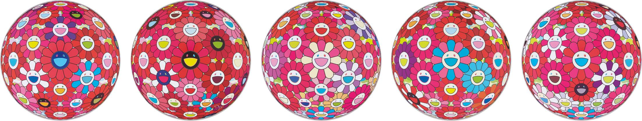 Takashi Murakami-Flower Ball (3D)-Turn Red!; Hey! You! Do You Feel What I Feel?; Flower Ball (3D) - Blue, Red; Letter to Picasso; Groping for the Truth-2014