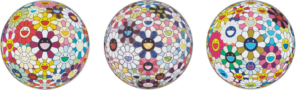 Takashi Murakami-Flower Ball (3-D) Autumn 2004; Flowerball sexual Violet No.1 (3D); and Right There, The Breadth of the Human Heart-2013