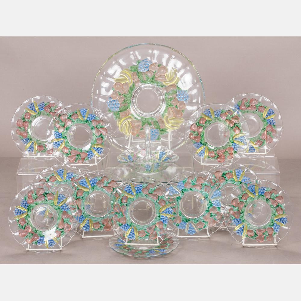 A Pressed Painted Glass Dessert Set-