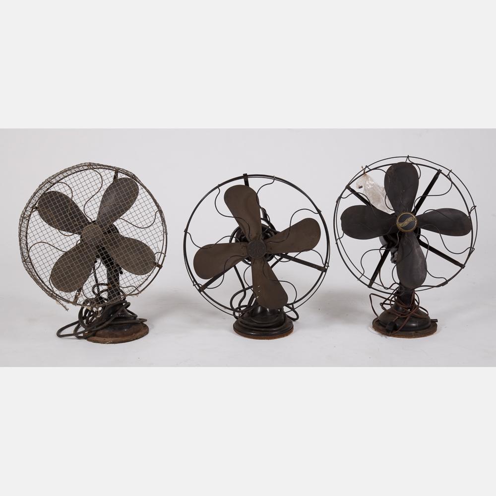 Three Vintage Fans-