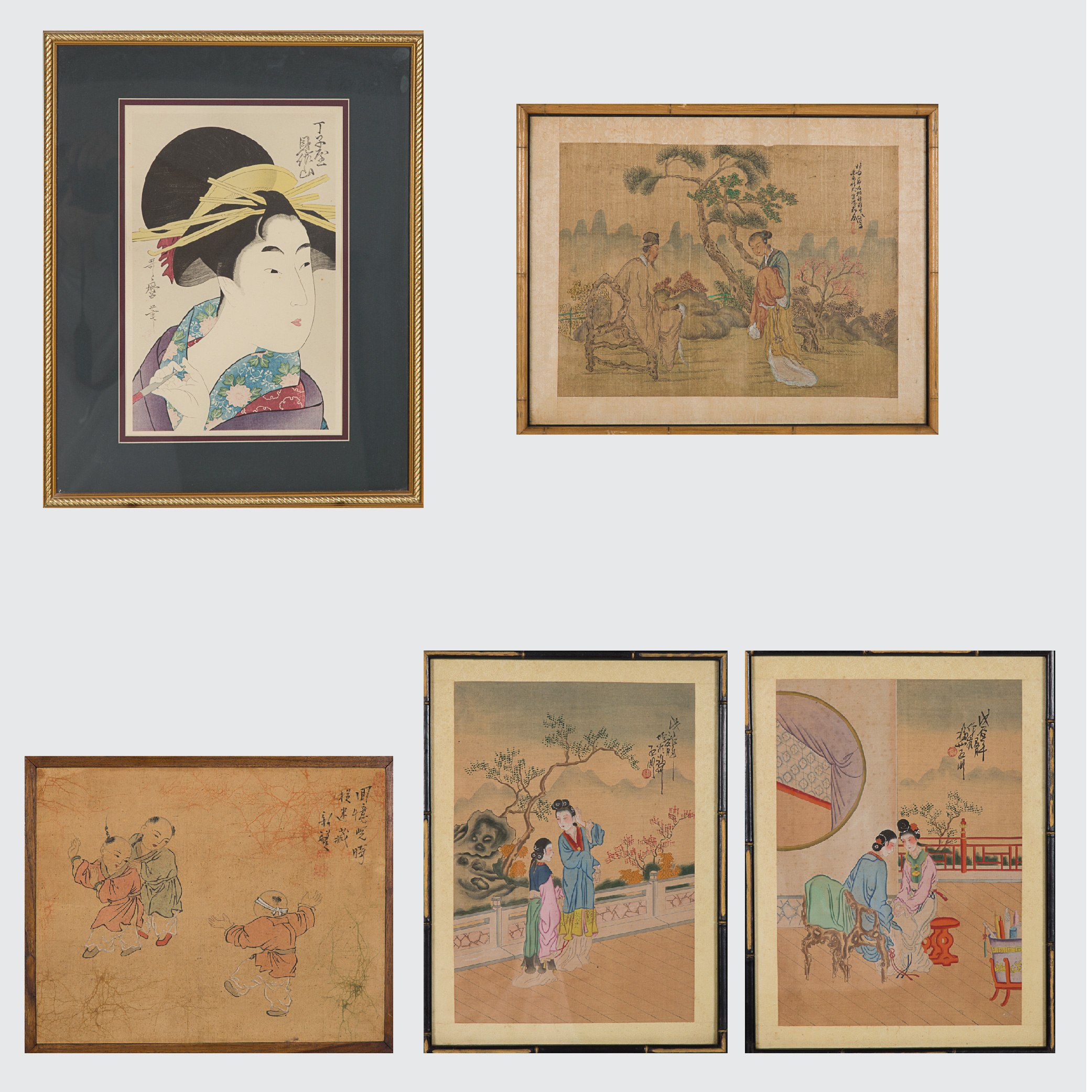 Five Framed Asian Items-