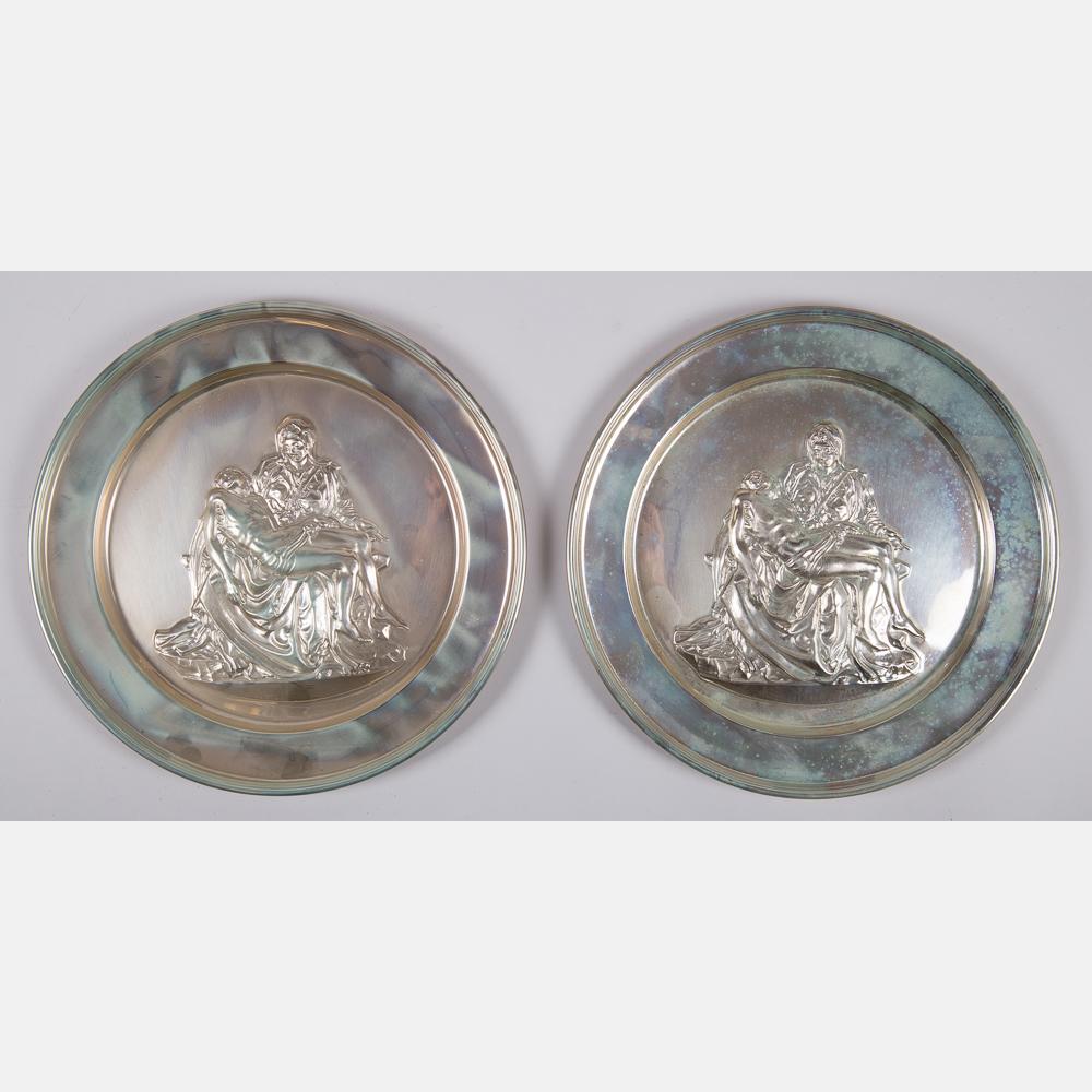 Two Silver Pieta Plates-