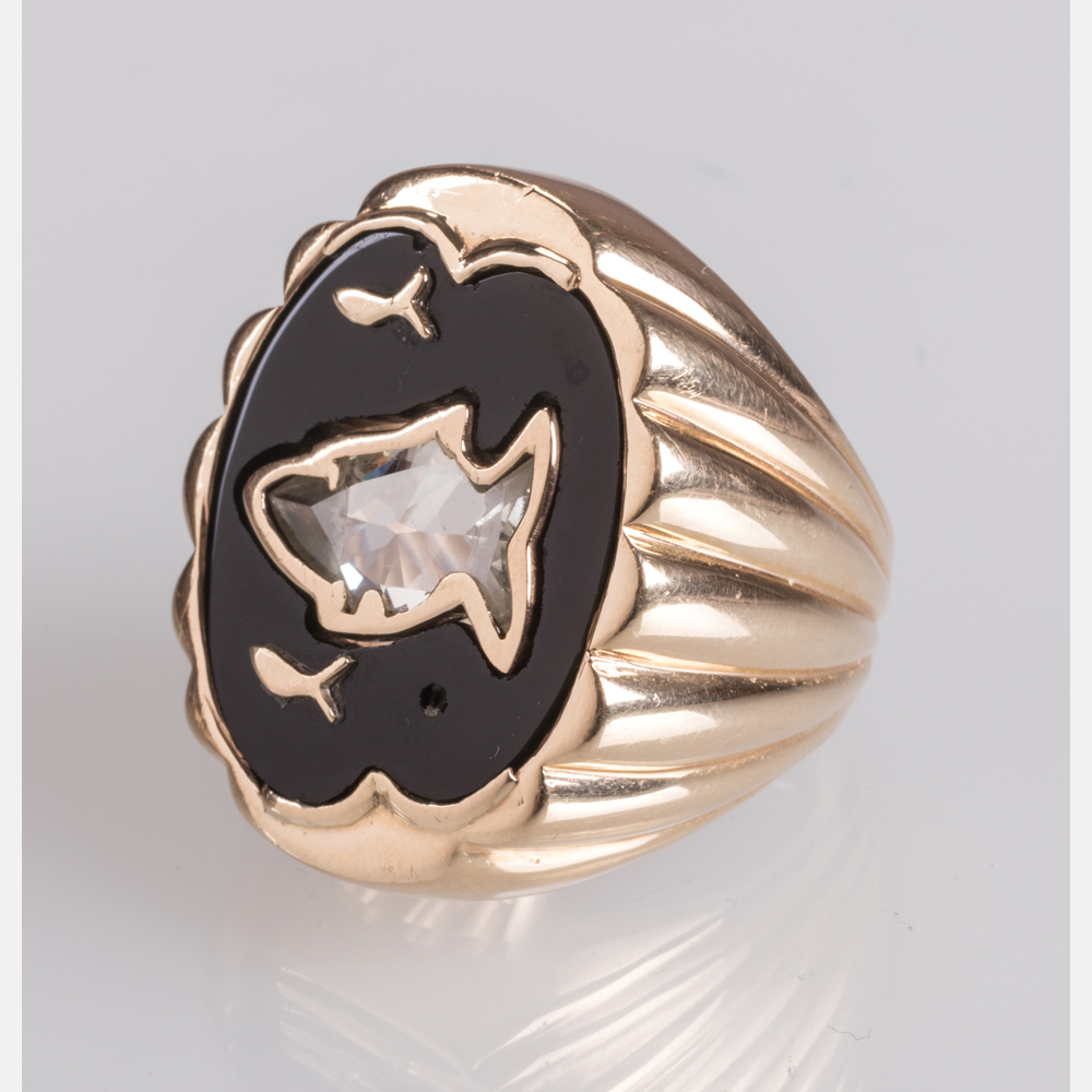 A 14kt. Yellow Gold and Diamond Ring-