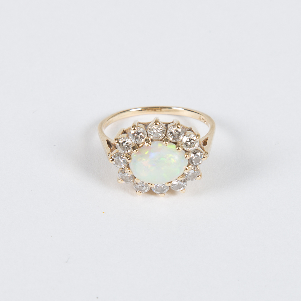 Gold, Opal and Diamond Ring-