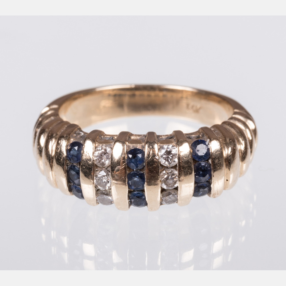 A Diamond and Sapphire Ring-