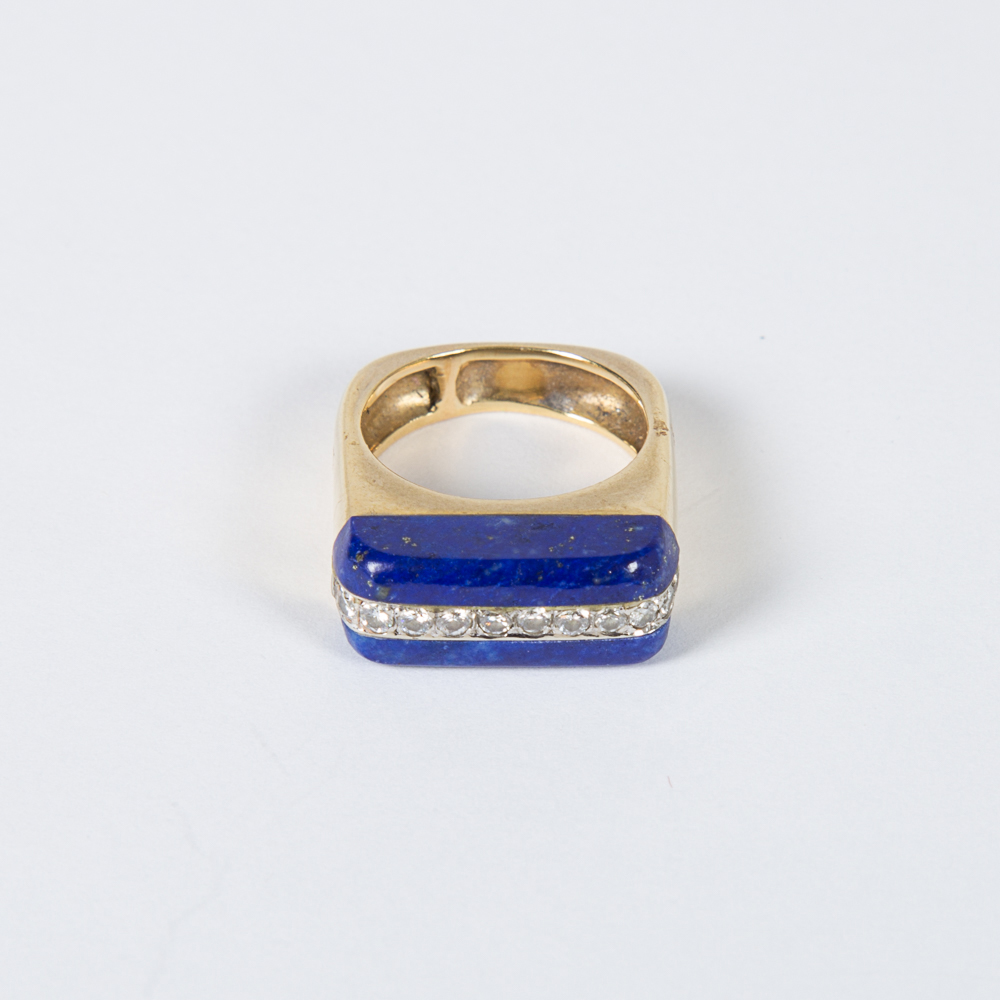 Gold Lapis and Diamond Ring-