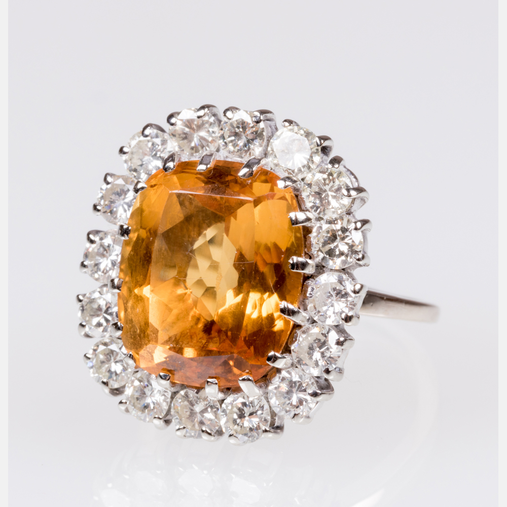 A Citrine and Diamond Ring-