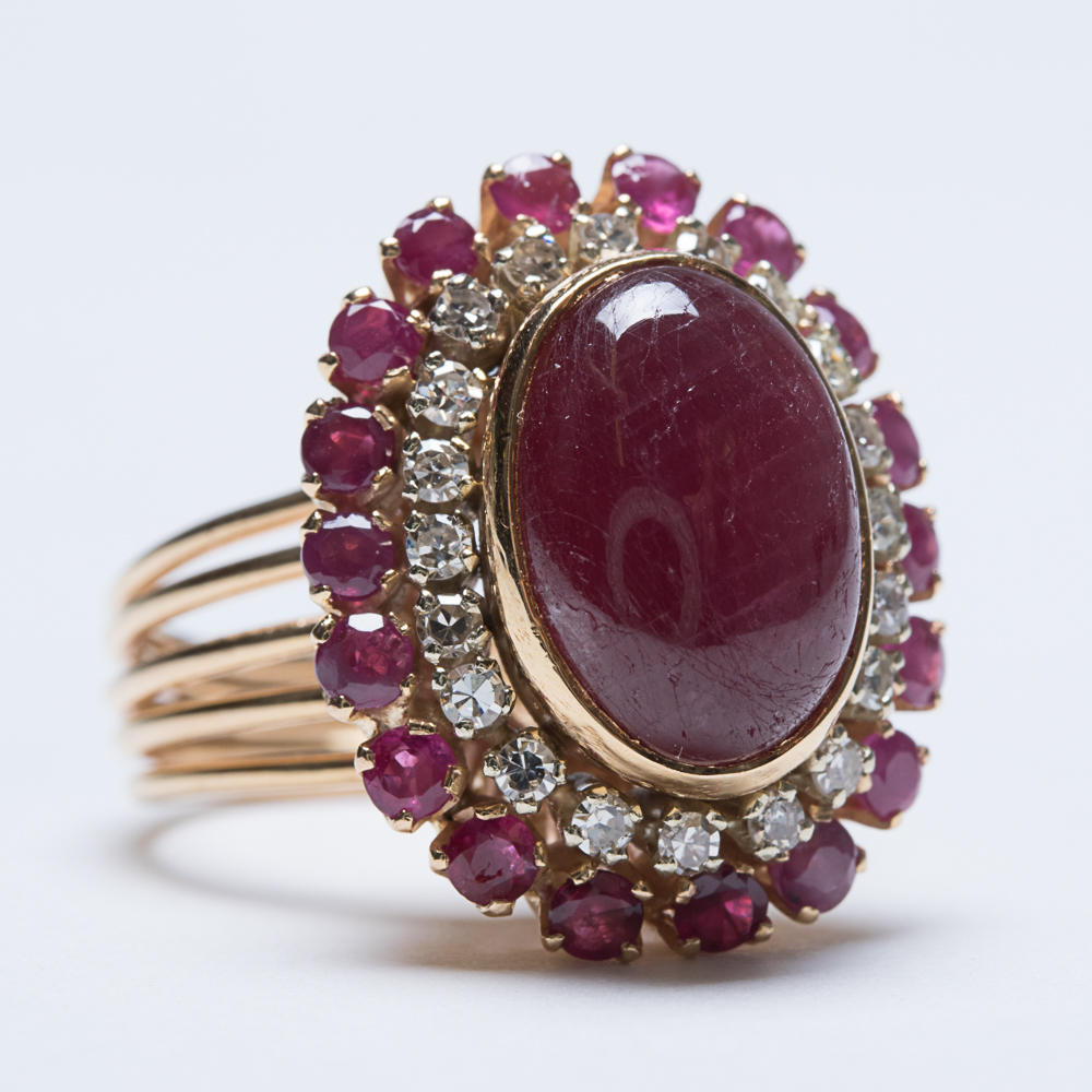 A Yellow Gold, Ruby and Diamond Ring-