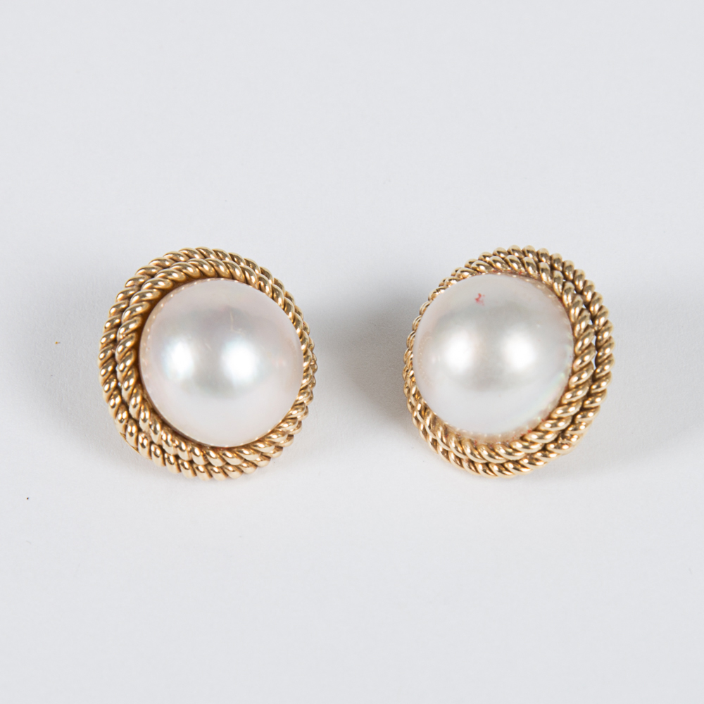 Gold, Mabe Pearl Earrings-