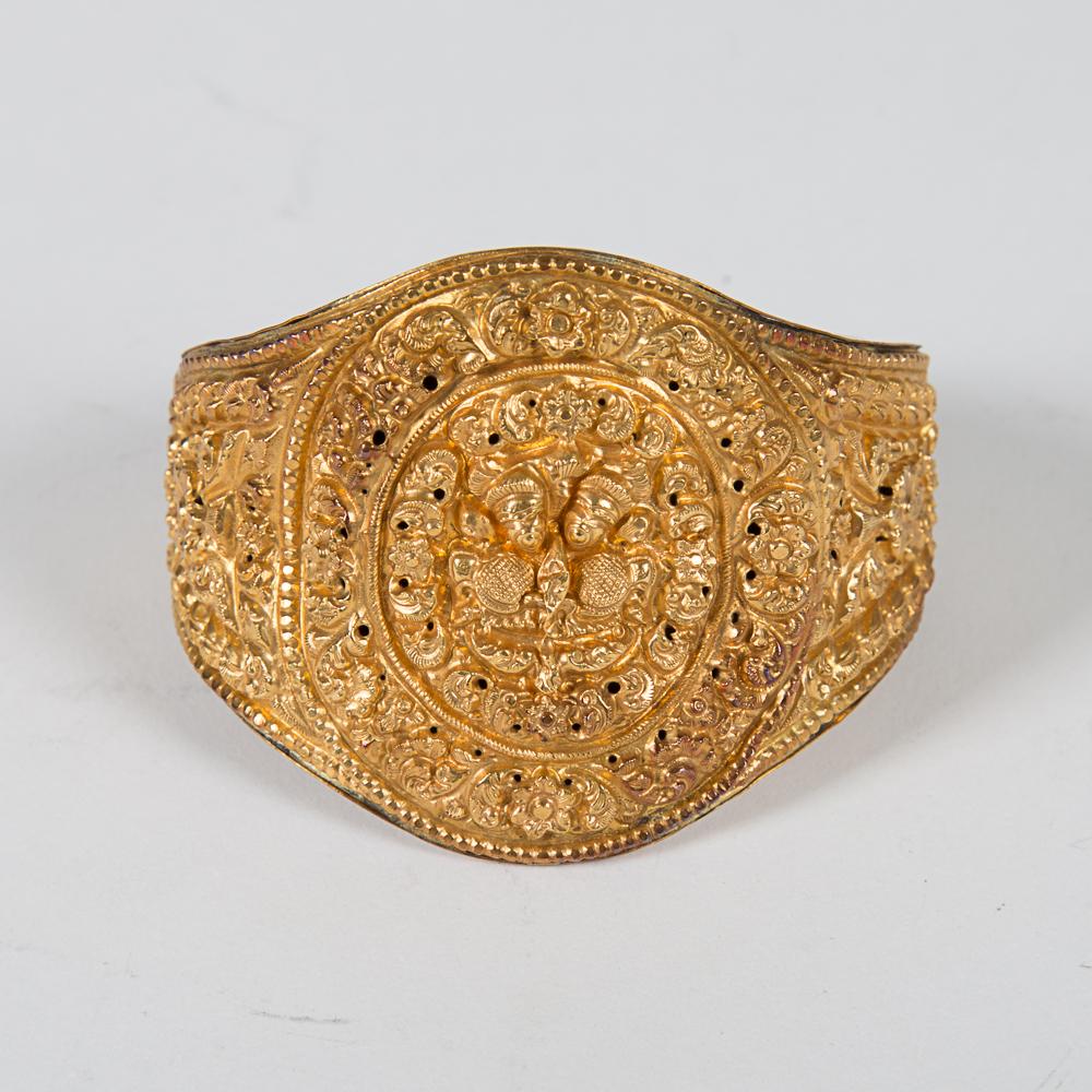 Nepalese Newari Gold Cuff Bracelet-