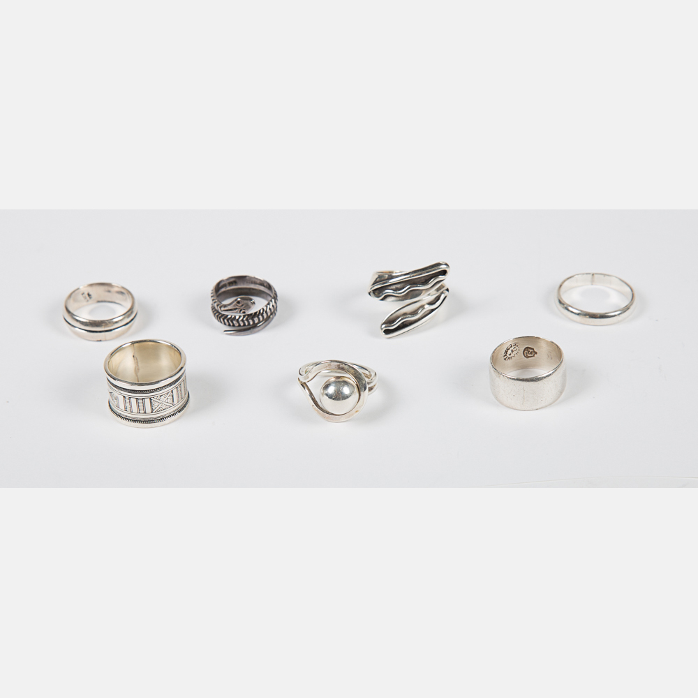 Seven Mexican Sterling Silver Rings-