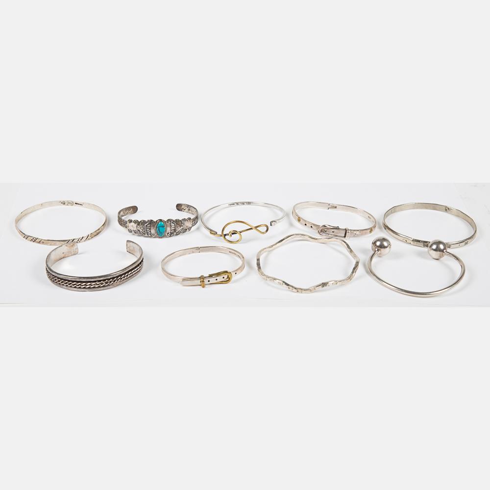 Nine Mexican Silver Bracelets-