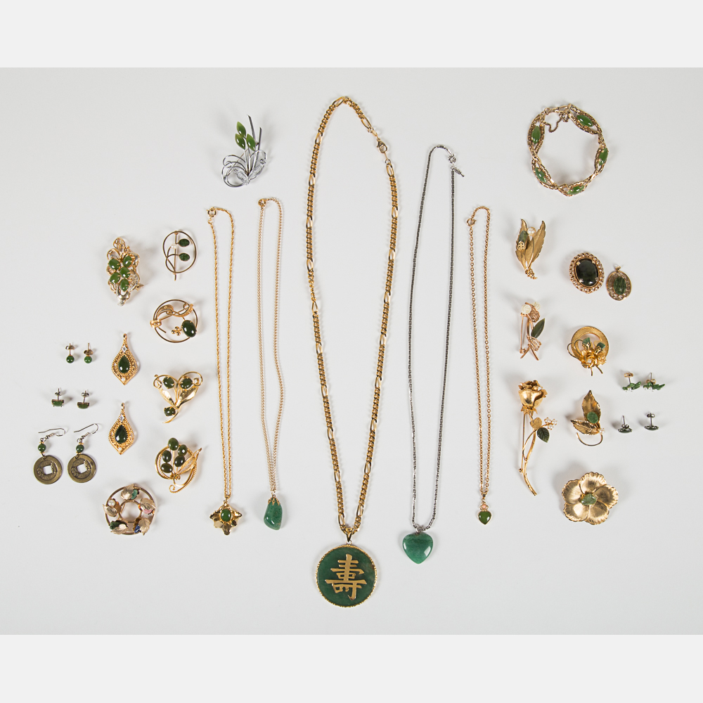 Collection of Jade Costume Jewelry-