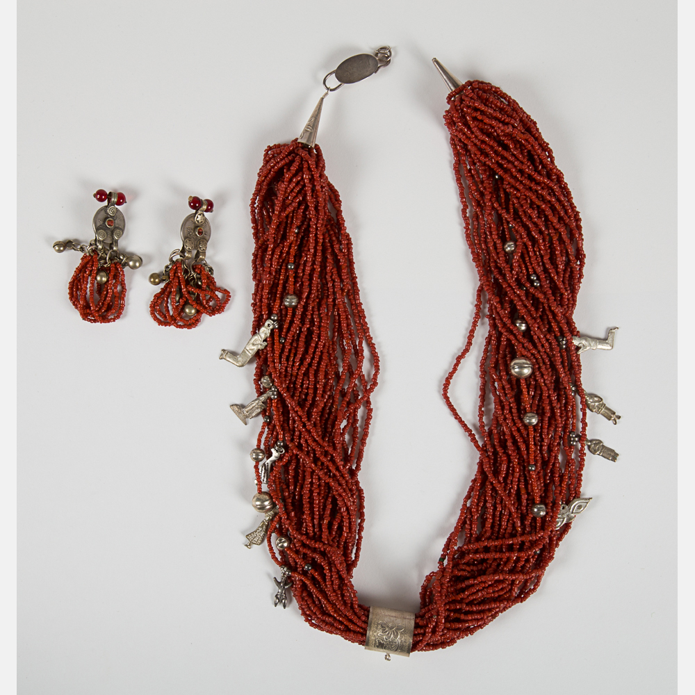 Chinese Coral and Silver Plated Necklace-