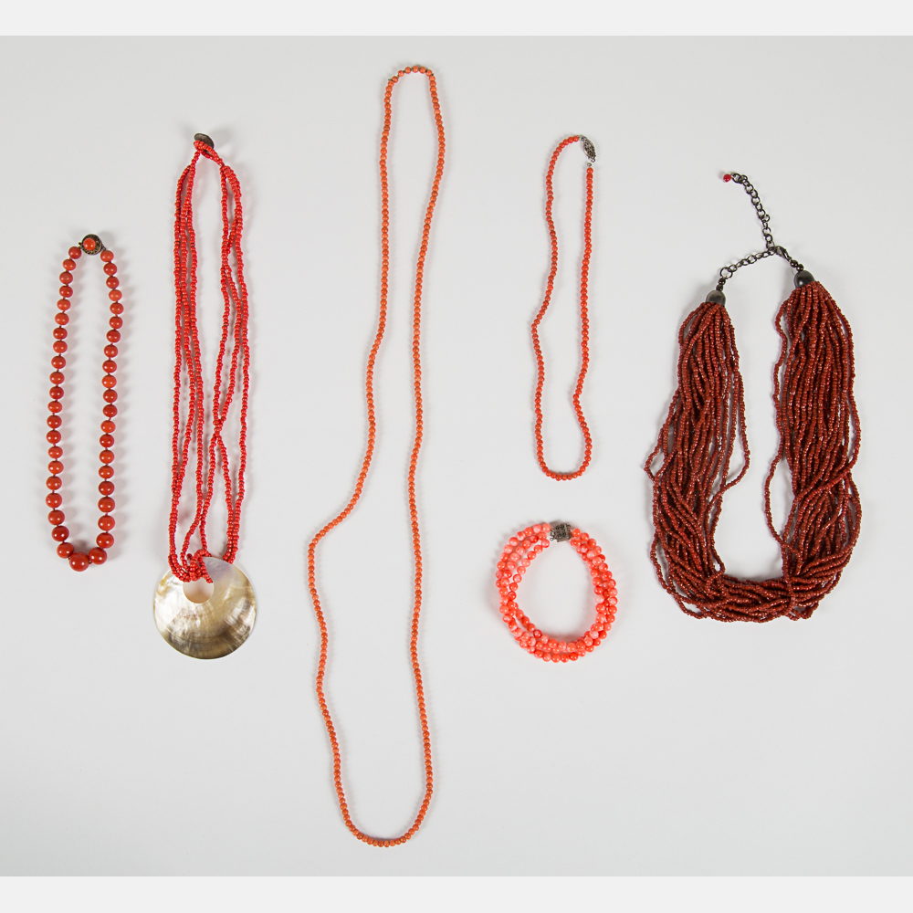 Five Coral Beaded Necklaces-