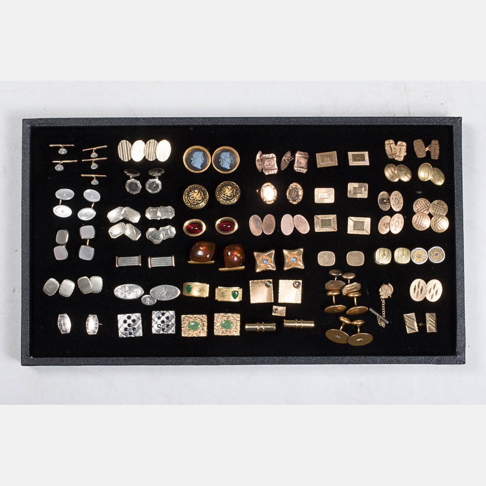 Forty Pairs of Low Karat Gold Cufflinks-