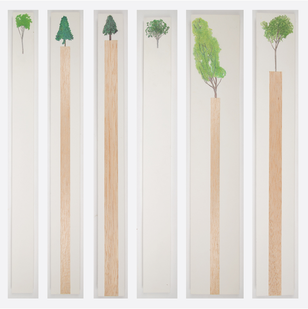 William Radawec-Seven Artworks from the 'Walking Stick' Series (Including: 'Small Evergreen, 1; 'Small Evergreen, 2; 'The Sequel, #21, 2000,; and 'The Sequel, #19, with three incomplete works)-1999