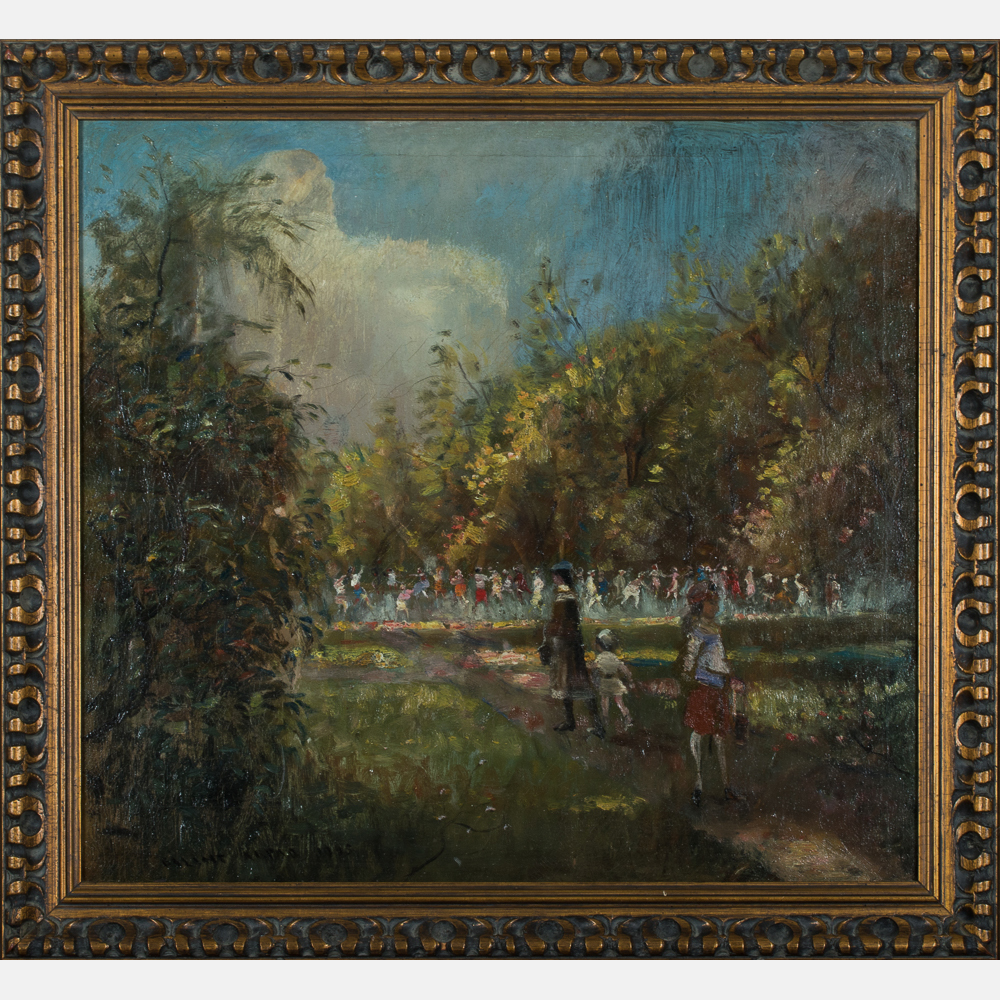 Arpad Balint-Park Scene with Figures-