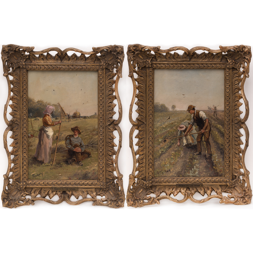 Francis William Topham-Two Farm Scenes with Figures-