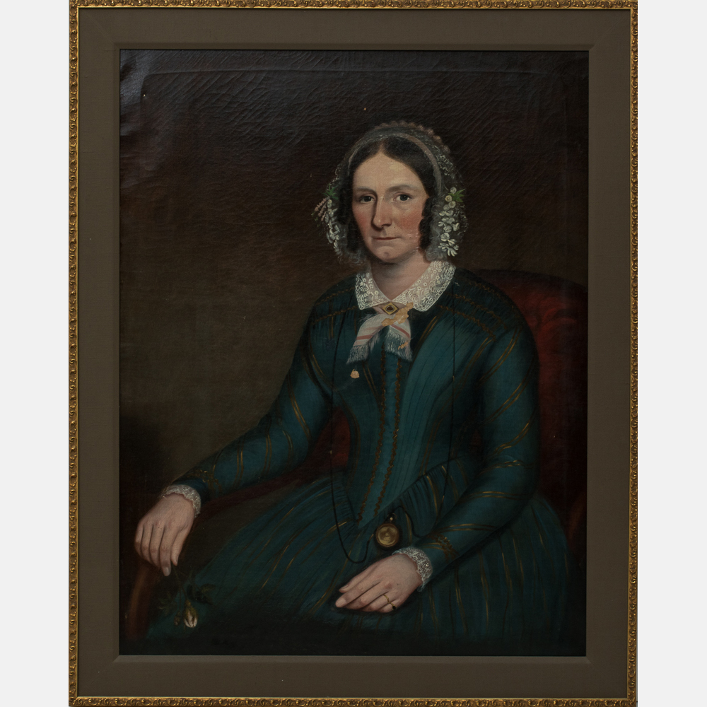 Ammi Phillips-Attributed to Ammi Phillips - Portrait of a Lady Holding a Rose-
