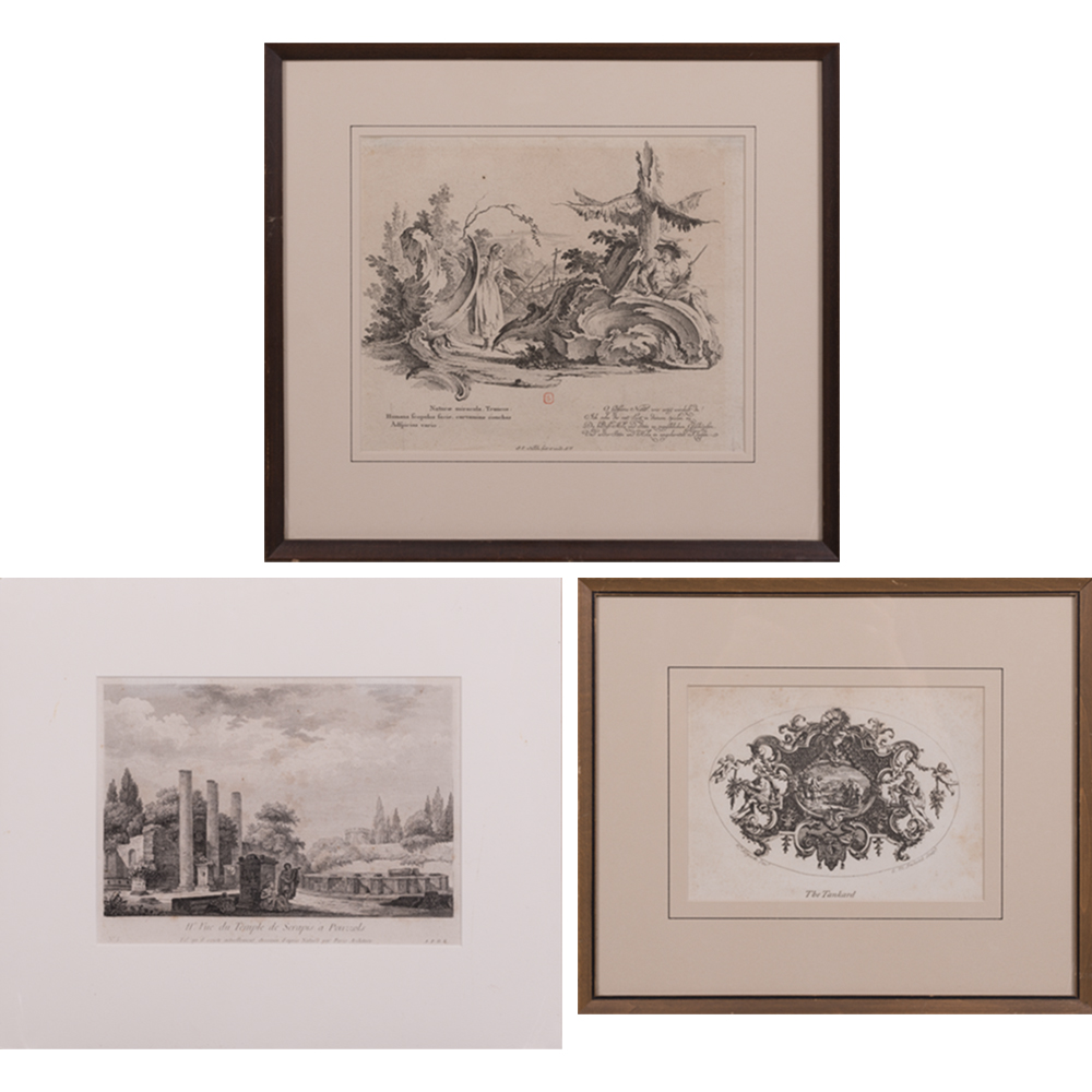 Johann Esaias Nilson-William Hogarth-A Group of Three Engravings (Including 'The Tankard'; engraving of the 'Ruines du Temple de Serapis a Pouzzols'.)-