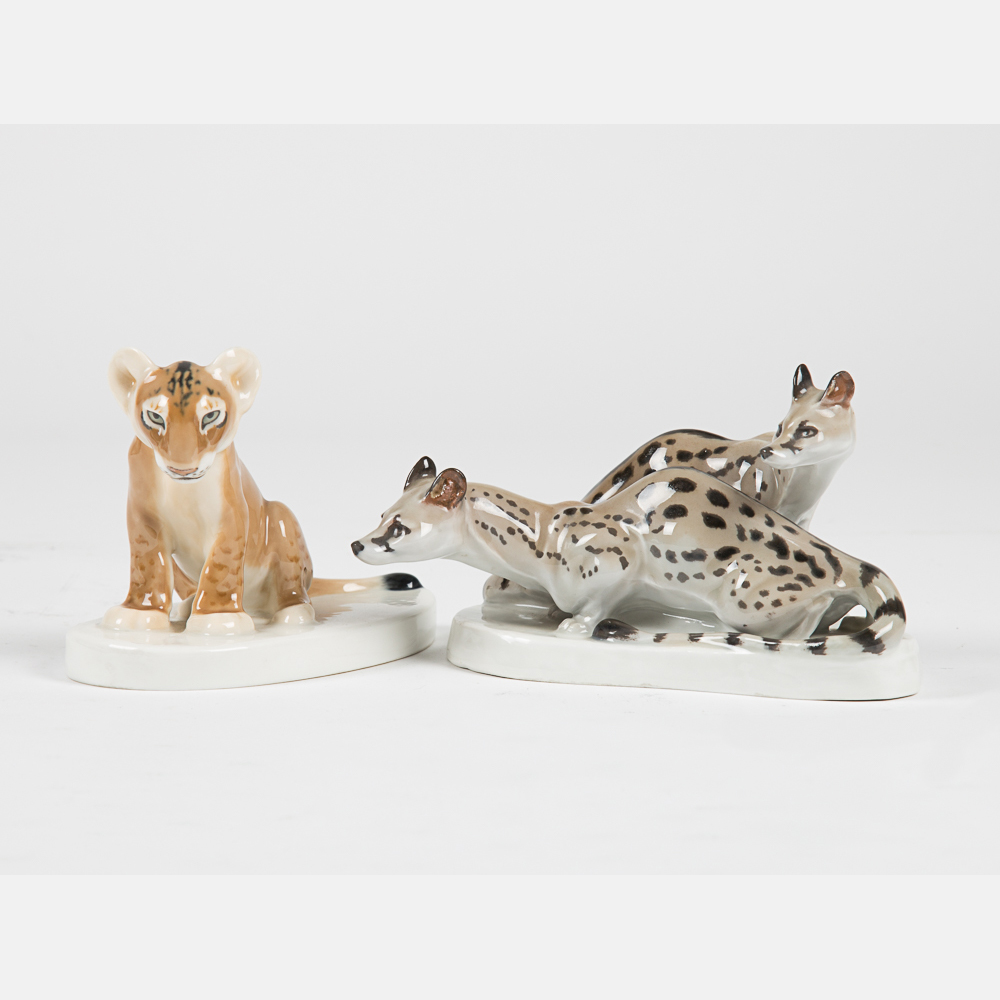 Two Meissen Porcelain Animal Figurines-