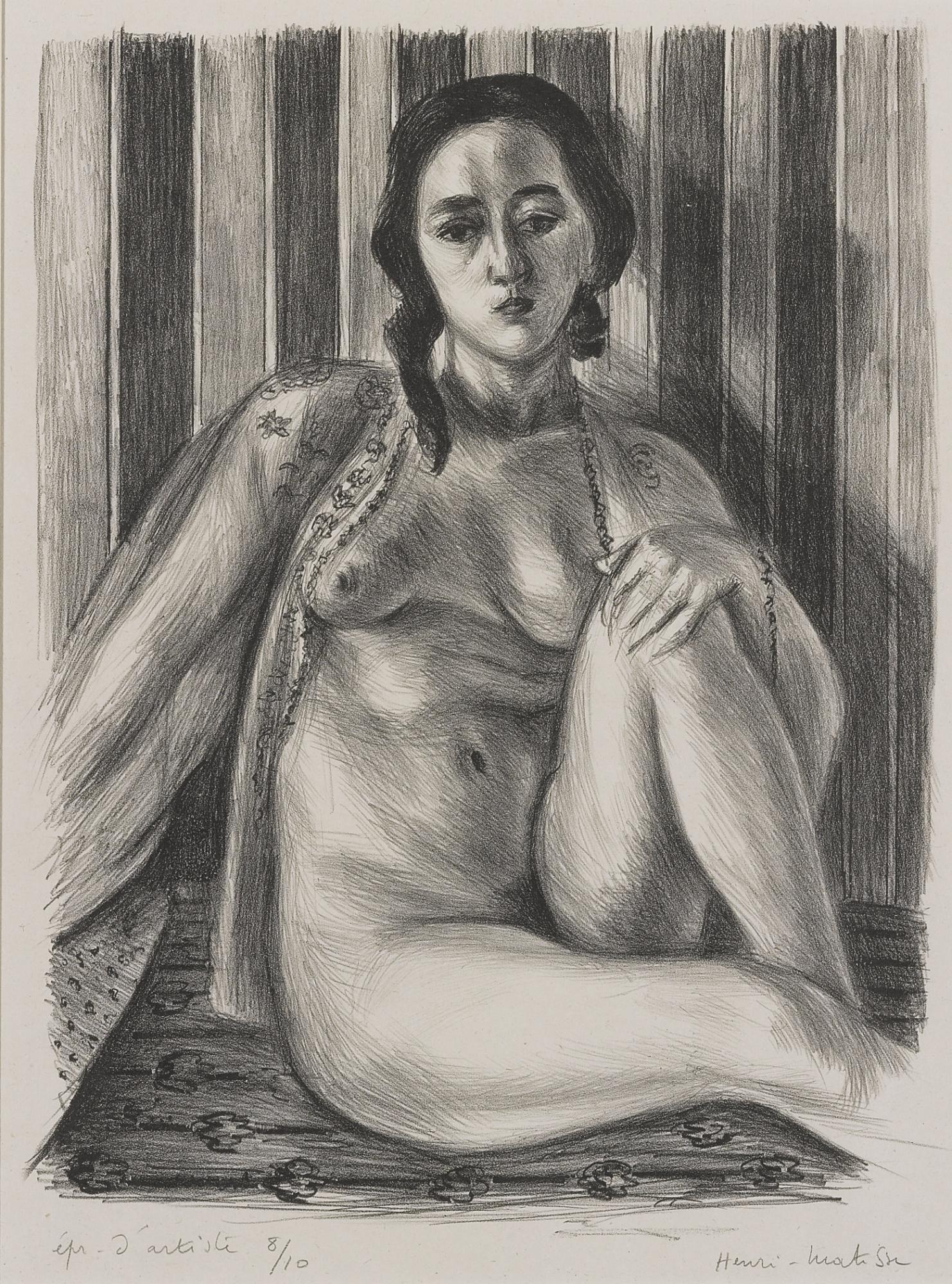Henri Matisse-Nu Assis ALa Chemise De Tulle (Delteil 465)-1925