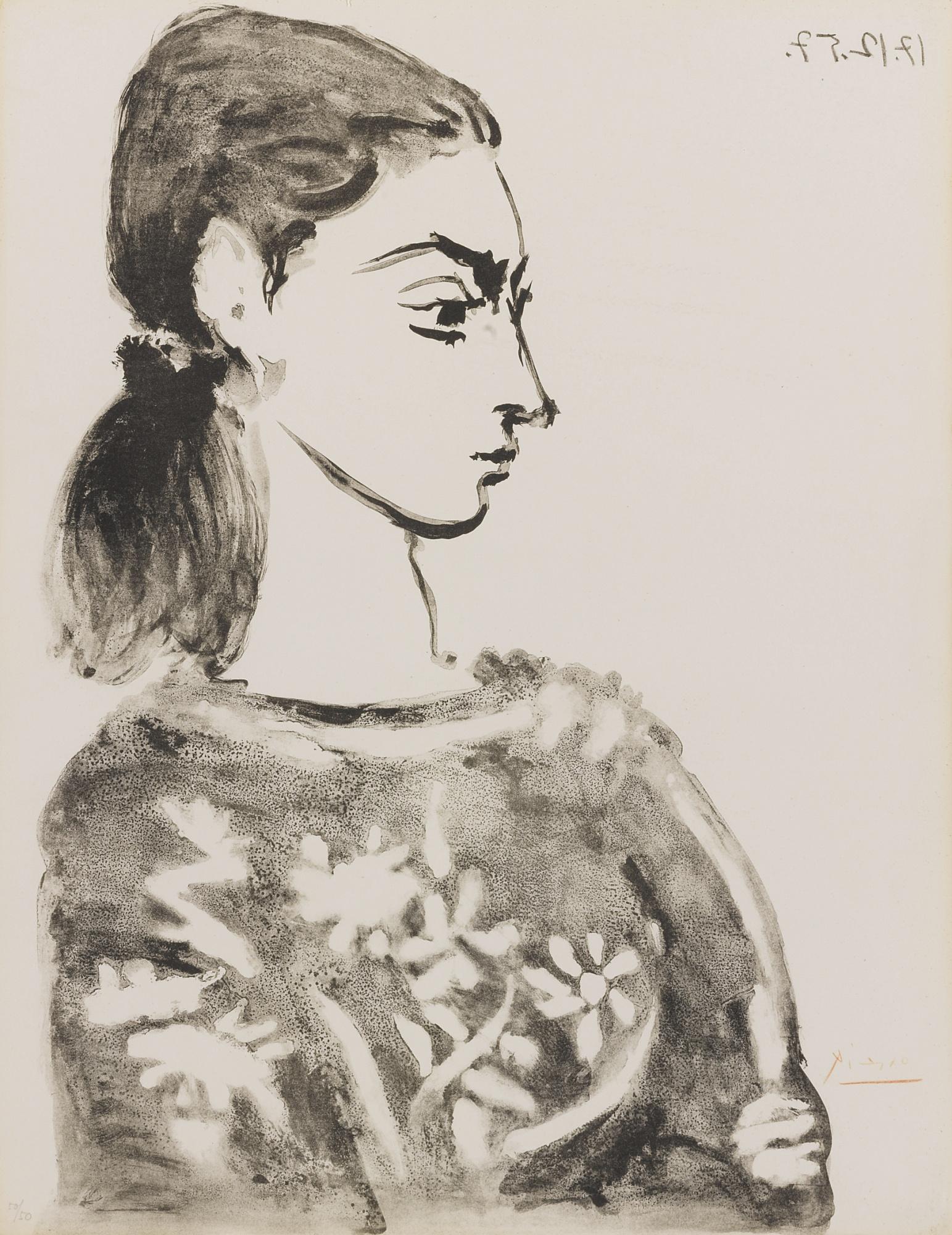 Pablo Picasso-Femme Au Corsage A Fleurs (Bloch 846; Mourlot 307)-1957